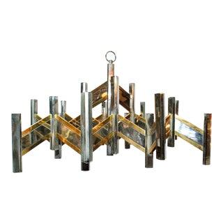 Italian Chrome and Brass Geometric Chandelier by Sciolari For Sale