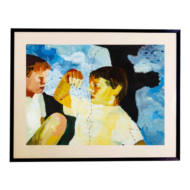 Susan Durfee Thulin 'Growing Boys' Large Framed Painting For Sale