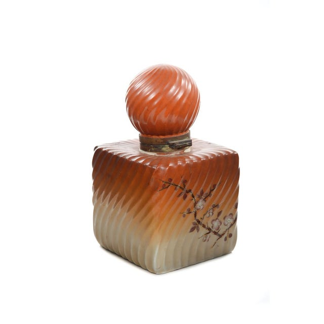 Orange 19th Century Painted Porcelain Inkwell Bottle For Sale - Image 8 of 9