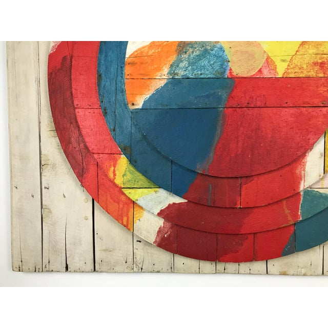 """Large Modernist Abstract Relief """"Sun lI"""" Jef Diederen 1965 Acrylic on Wood For Sale In Boston - Image 6 of 13"""