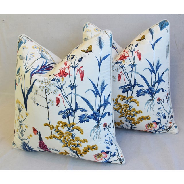 "Blue Floral Wildflower Botanical Cotton & Linen Feather/Down Pillows 24"" Square - Pair For Sale - Image 8 of 13"