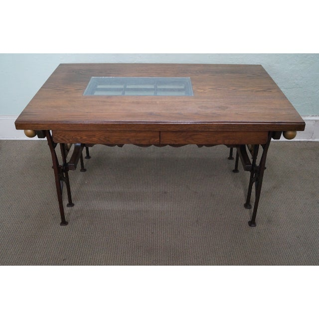 Hand crafted iron base Gothic writing desk with salvaged castle door and other various salvaged parts. Custom constructed....