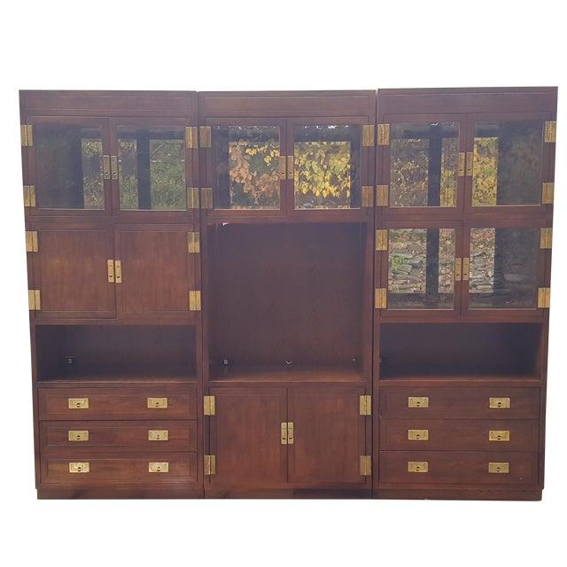 Henredon Campaign Illuminated Cabinets - Set of 3 - Image 1 of 11