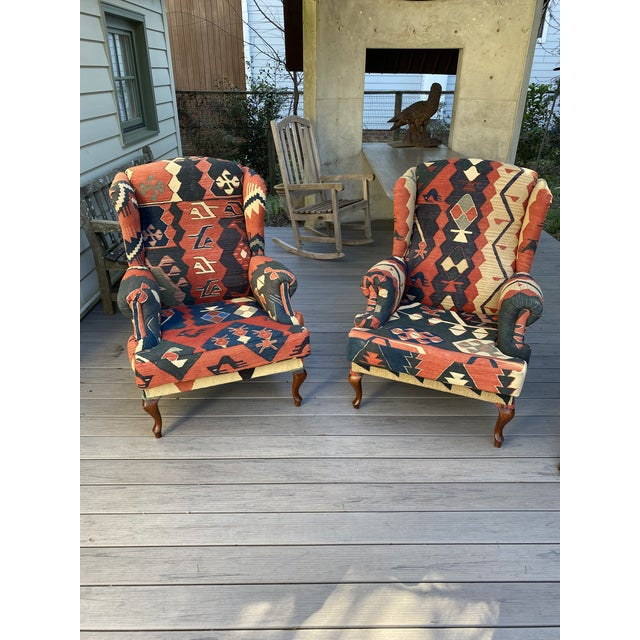 Kilim Wingback Chairs - a Pair For Sale - Image 13 of 13