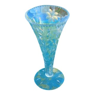 Clear Glass Etched Floral Vase