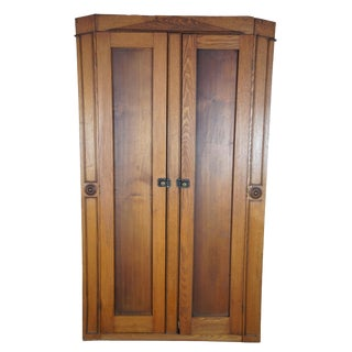 19th Century Antique Late Victorian Oak Armoire For Sale