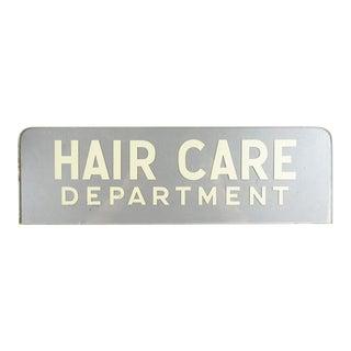 Vintage Glass Hair Salon Sign For Sale