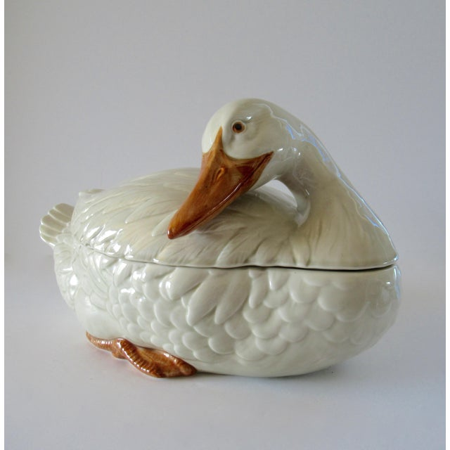 Early Fitz and Floyd hand painted ceramic duck earthenware soup tureen with original, matching ladle. Tureens transform...