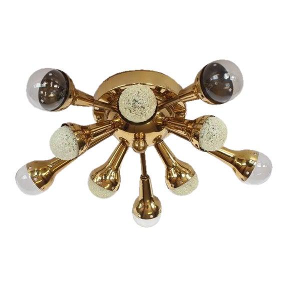 Mid-Century Flush Mount Brass Sputnik Chandelier For Sale - Image 4 of 4