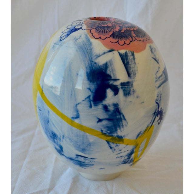 Contemporary Ceramic Large Chrysanthemum Egg Vessel For Sale - Image 4 of 7