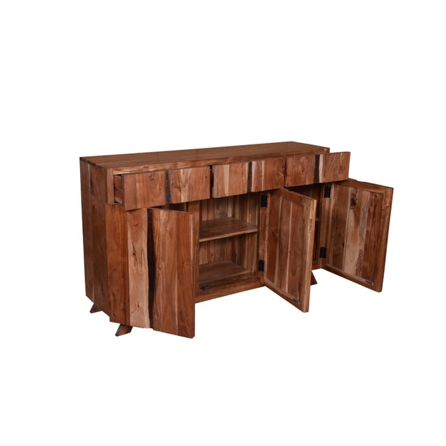 Baxter Three Drawer Acacia Wood Storage Sideboard For Sale In Dallas - Image 6 of 9
