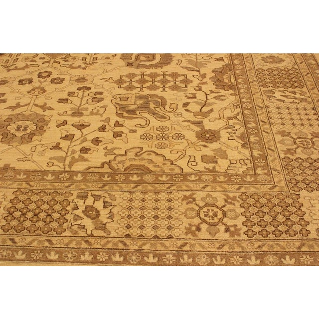 Contemporary Kafkaz Peshawar Kasi Tan/Brown Hand-Knotted Rug - 8'10 X 11'9 For Sale - Image 3 of 8
