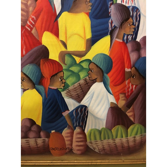 Oil on Canvas Painting of a Haitian Market by Andre Guervil For Sale In San Francisco - Image 6 of 10