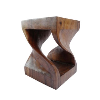 Acacia Wood Twist Stool / Side Table For Sale