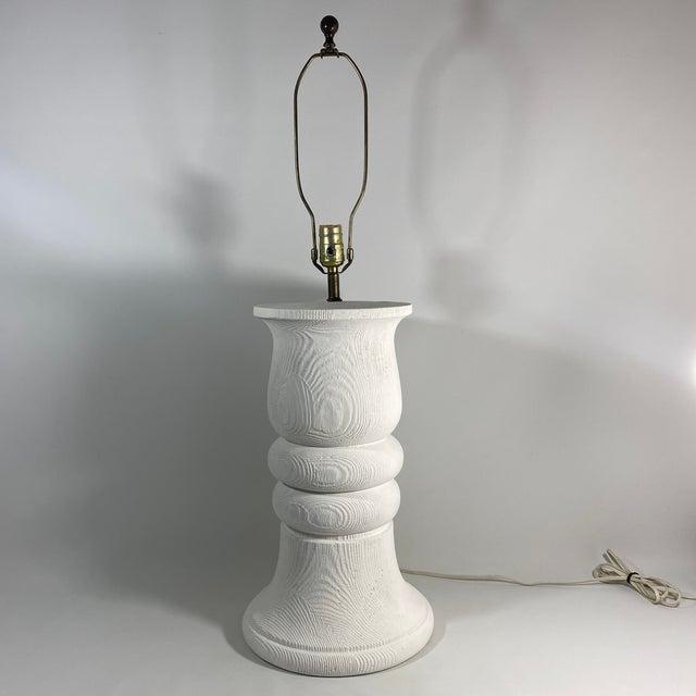 1980s Monumental 1989 Bon Art Faux Bois Plaster Lamp For Sale - Image 5 of 13