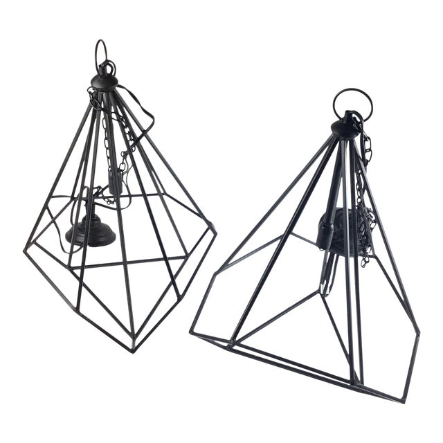 Black Modern Hanging Ceiling Chandeliers - a Pair For Sale