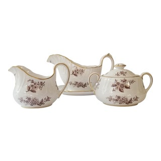1950s Spode Copeland Sugar Bowl, Creamer and Gravy Boat Serving Pieces-Set of 3 For Sale
