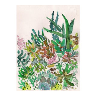 """Succulent Fiesta"" Watercolor Painting For Sale"