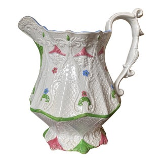 Chinoiserie Staffordshire White Pitcher For Sale