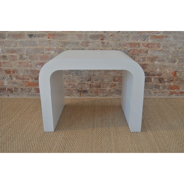 Vintage white laminate waterfall table. Can be used as a large side table or a coffee table in a small space.
