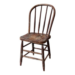 Antique Spindle Back Farmhouse Windsor Dining Chair For Sale