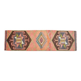 Hand-Knotted Turkish Kurdish Runner Rug. Low Pile Tribal Short Runner 2′10″ × 10′ For Sale