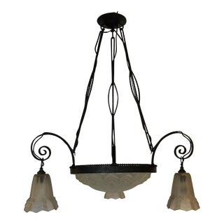 Degue French Art Deco Wrought Iron Chandelier For Sale