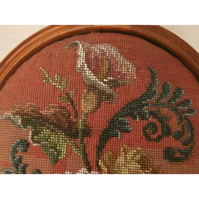 Antique English Folk Art Beaded Ladies' Footstool For Sale In Chicago - Image 6 of 10