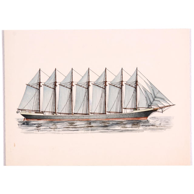 Thomas W. Lawson Ship Ink Drawing For Sale