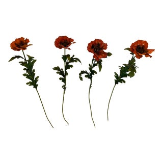Painted Iron Tall Long Stem Poppy Flowers -Set of 4 For Sale