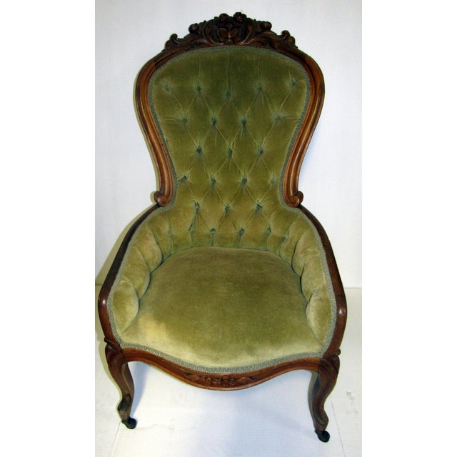 Victorian Chair With Green Velvet Upholstery For Sale In Los Angeles - Image 6 of 11