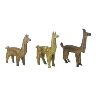 Vintage Brass Llama Collection - Set of 3
