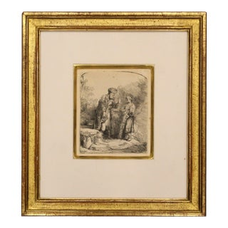 Antique 17th Cent. Rembrandt Van Rijn Abraham & Isaac Etching Drypoint Framed For Sale