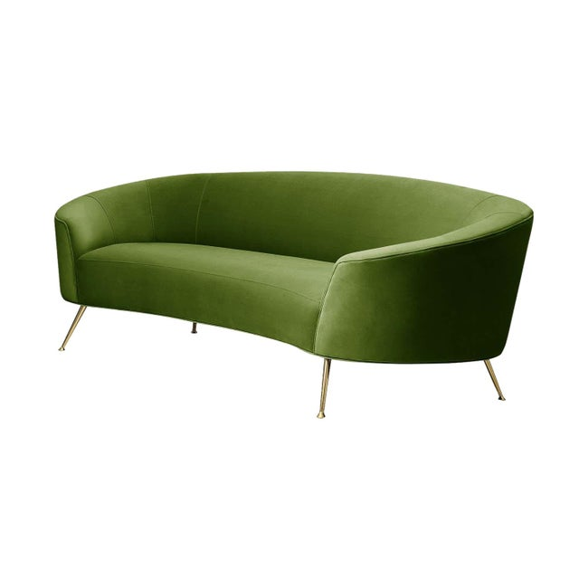 Traditional Pasargad Home Sorrento Collection Velvet Sofa, Green For Sale - Image 3 of 8