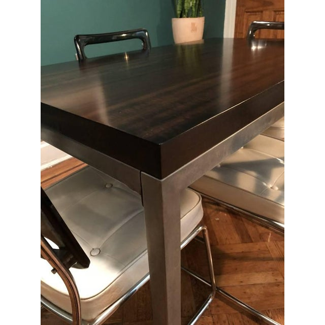 Crate Barrel Walnut Top And Steel Base Parsons Table Chairish