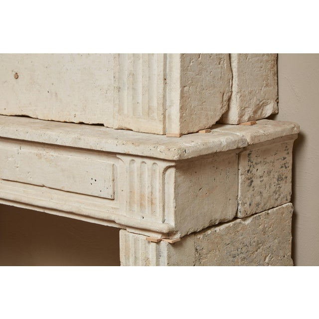 Beige 18th Century Neoclassical French Limestone Fireplace Surround For Sale - Image 8 of 9
