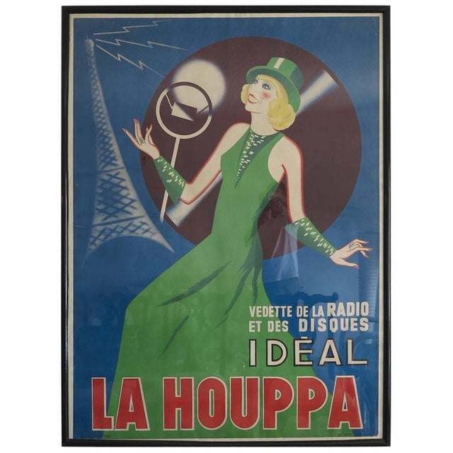 Vintage 1930s La Houppa Radio Poster For Sale - Image 4 of 4