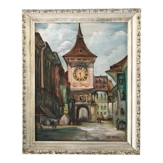 1960s Vintage European Bell Tower Framed Painting For Sale