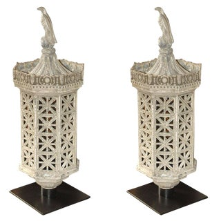Late 19th Century Large Cast Iron Lanterns - a Pair For Sale
