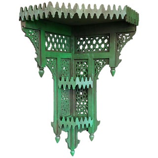 Moroccan Green Wooden Corner Shelf For Sale