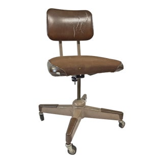 Vintage Industrial Steel Swivel Office Chair With Brown Upholstery For Sale