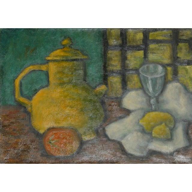 Laurent Marcel Salinas, Theiere Jaune, Fruits Et Verre (337), Oil on Canvas For Sale