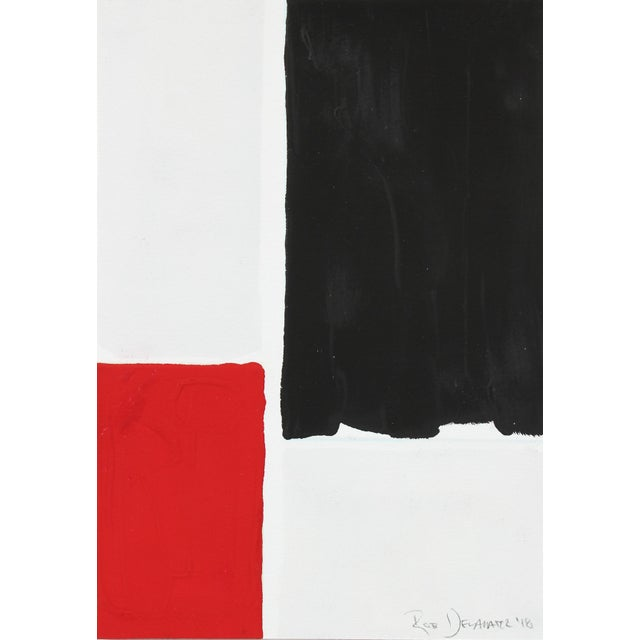 """Contemporary Rob Delamater """"Black and Red I"""" Gouache on Paper, 2018 2018 For Sale - Image 3 of 3"""