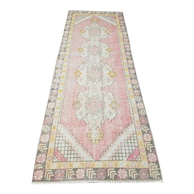 Vintage Faded Oushak Floral Handmade Rug- 2′11″ × 9′1″ For Sale
