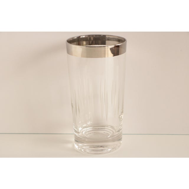 Set of six vintage Dorothy Thorpe style highball glasses with a shiny metallic rim and vertical etched wraparound design.