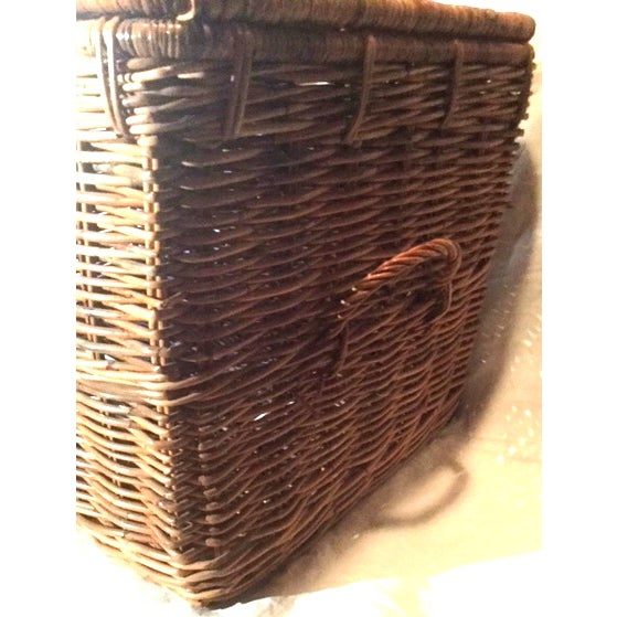 1980s Americana Wicker Blanket Trunk For Sale - Image 4 of 7