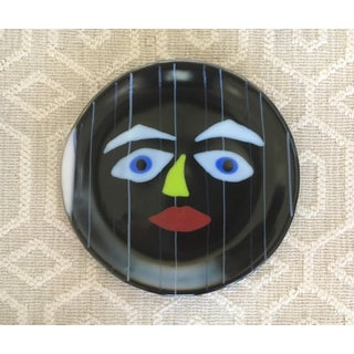 Vintage Hand Painted Abstract Ceramic Face Plate Preview