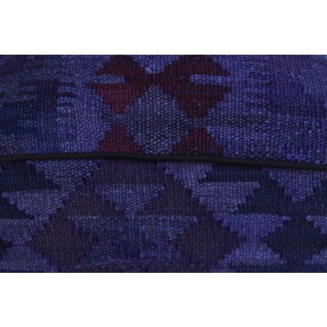 Arshs Demetric Purple/Drk. Gray Kilim Upholstered Handmade Ottoman For Sale In New York - Image 6 of 8