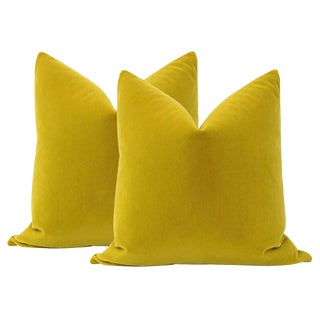 "22"" Chartreuse Mohair Pillows - a Pair For Sale"
