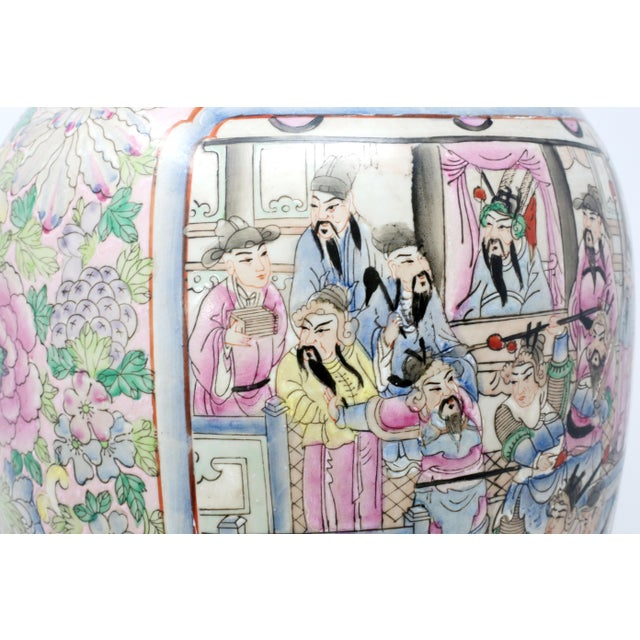Vintage Hand-Painted Chinese Family Temple Jar For Sale - Image 4 of 12